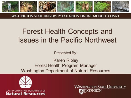 Forest Health Concepts and Issues in the Pacific Northwest- Online Module